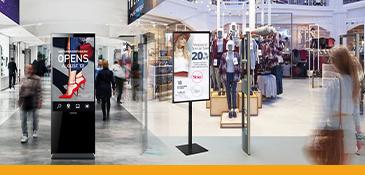 Voorbeelden van AV-middelen in een winkelcentrum.