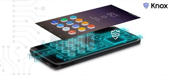 Smartphone met een Samsung Knox schil.