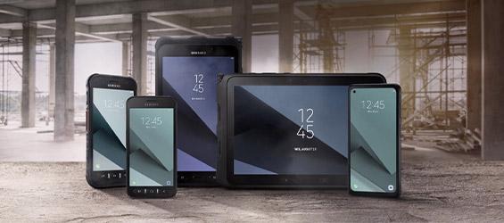 Line-up van Samsung Smartphones en Tablets met een ruggedized hoes.